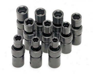 10 Piece 1/2'' Drive 6 Point Swivel Metric Impact Socket Suit