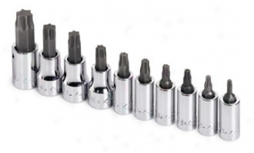 10 Piece 1/4'' And 3/8'' Drive Torx Bit Socket Set