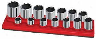 1/2'' Dr., 14-hole, Suallow Socket Holder - Red