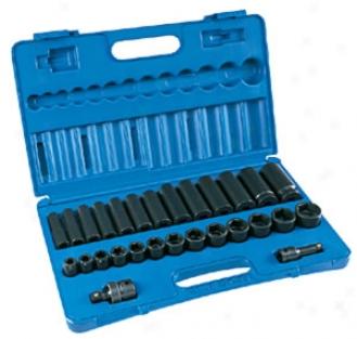 1/2'' Dr. 28 Pc. Standard & Deep Fractional Socket Set