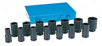 14 Piece 3/4'' Drive Deep Length Fractional Impact Socket Set