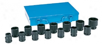 14 Piece 3/4'' Drive Standard Length Fractional Impact Socket Set