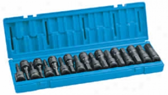 18 Pc. 1/2'' Dr. Metric And Pertaining to fractions Hex Impact Driver Set