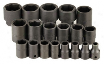 19 Piece 1/2'' Drive 6 Point Standard Fractional Impact Socket Set