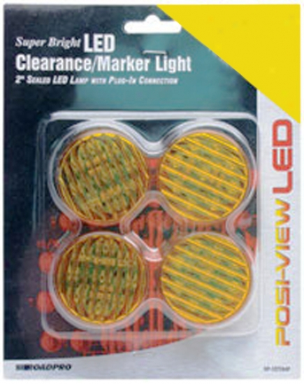 2' Amber Sealed Round Led Clearance/marker Lights (4 Pack)