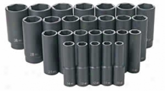 26 Pc. 1/2'' Dr. Metric Deep Length Impact Socket Set