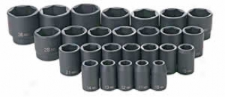 26 Pc. 1/2'' Dr. Metric Impact Socket Set