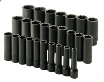 26 Piece 1/2''drive 6 Point Deep Metric Impact Socket Set