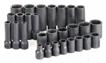 28 Piece 1/2'' Drive 6 Point Standard And Deep Fractional Impact Socket Offer for sale