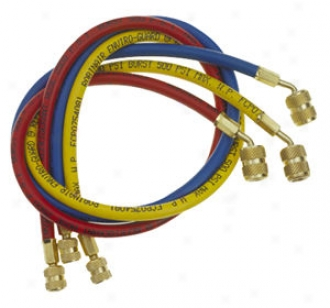 3 Pc . Srt Of 72'' Enviro-guard Chsrging Hoses Attending Quick Seal Fittings For R-12