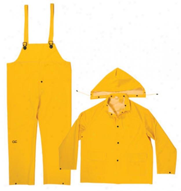3 Piece .35mm Pvc Yellow Rain Suit - Large