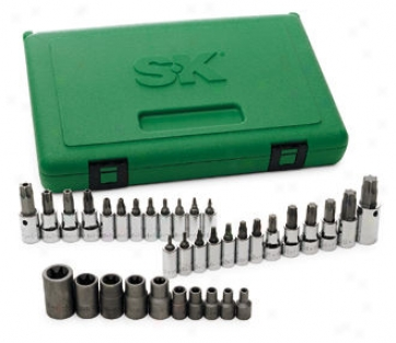 35 Piece 1/4'', 3/8'' And 1/2'' Drive Torx Bit Socket Superset