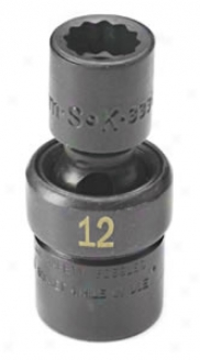 3/8'' Drive, 1 Point Swivel Metric Impact Socket - 12 Mm
