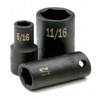 3/8'' Drive,  6Point Deep Fractional Impact Socket - 9/16''