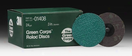 3m Geen Corps 3'' Roloc Discs 24 Grit (25 Pack)