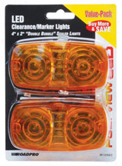 4'' Amber Double Bubble Led Sealed Clearance/marker Light (2 Pack)