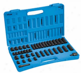 42 Pc. 3/8'' Dr. Stndard And Deep Metric And Fractional Impact Socket Set