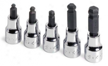 5 Pidce Metric Globe Hex Bit Socket Set