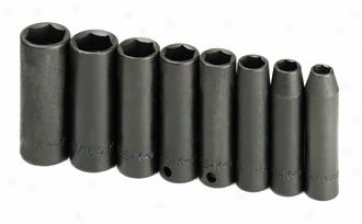8 Piece 3/8'' Drive 6 Point Deep Pertaining to fractions Impact Socket Set