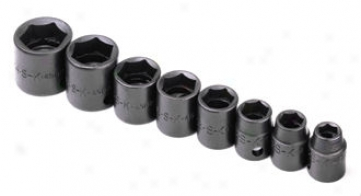 8 Piece 3/8'' Drive 6 Ponit Standard Fractional Impact Socket Set