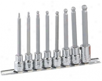 8 Piece Fractional Wobble Hex Bit Socket Set-110mm Long