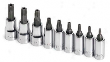 9 Piece 1/4'' & 3/8'' Drive Tamper-proof Torx Bit Socket Set