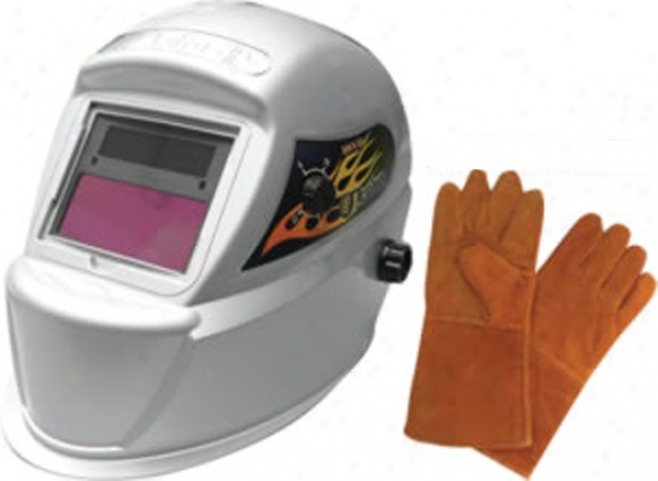 Astro Pneumatic Solar Auto-darkening Welding Helmet & Leather Welding Gloves