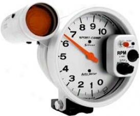 Auto Meter 5'' Sport Comp Silver Pedestal Mount Tachometer With Shift Lite