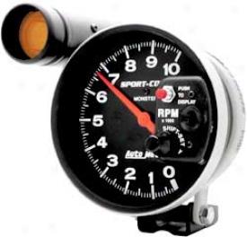 Auto Meter Spirt-comp 5'' Shift-lite Pedestal Mount Tachometer W. Dial-in-exactness