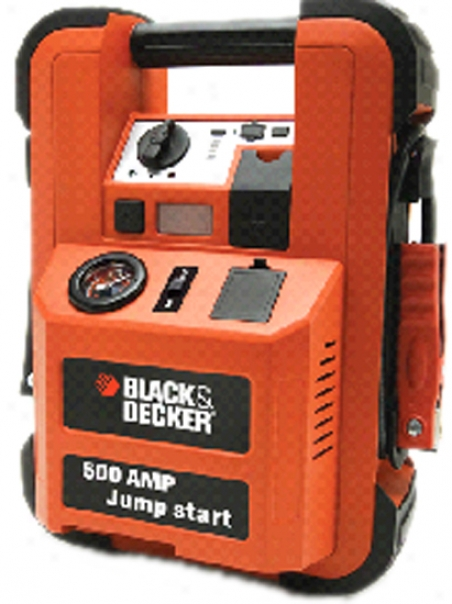 Blac k& Decker 500 Amp Loe-profile Jump Starter With Inflator