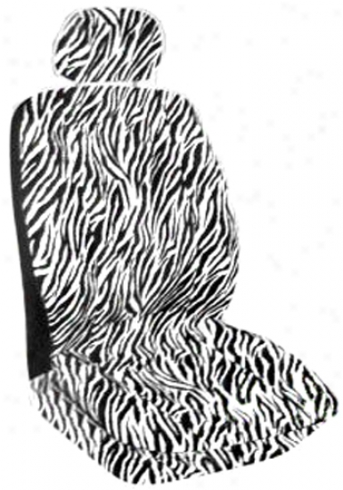 Black Safari Zebra Print Low-back Bucket Seat Cover (pair)
