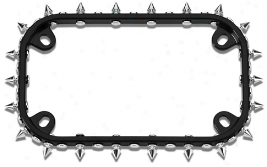 Black/chrome Spikes Motorcycle License Plate Frame