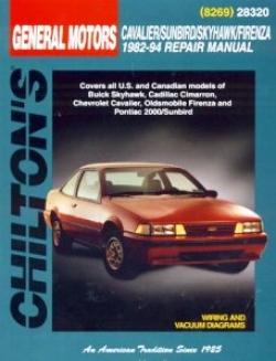 Buick Skyhawk, Cadillac Cimarron, Chevy Cavalier, Oldsmobile Firenza, Pontiac 2000/sunbird Chilton Manual (1982-1994)