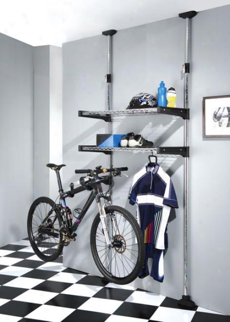 Ceiling Mount 2 Shelf And 1 Bike Rack System