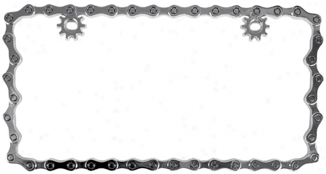 Chrome Bike Chain Metal Licenqe Plate Construct