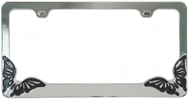 Chrome Butterfly Metal License Plate Frame