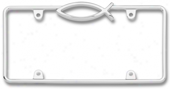 Chrome ''jesus Fish'' License Plate Frame