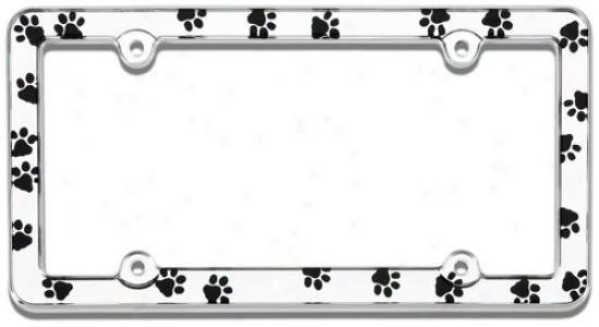 Chrome Paw Prints Licensd Plate Frame
