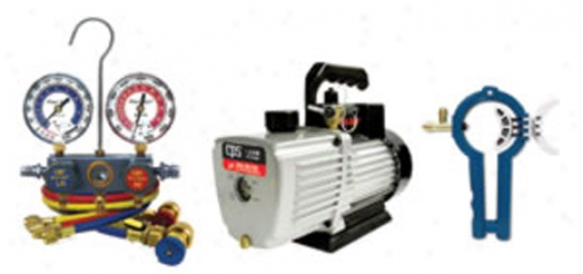 Cps Products 1.9 Cffm Pro-set? Vacuum Pump With Manifold Gauge Se5 And 3-in1 Can Tap