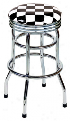 Double Foot Ring, Swivel Garage Stools With Custom Art And Auto Logos