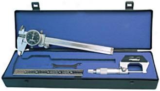 Fowler Measuring Set - Caliper-micrometer And Ruler
