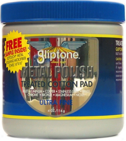 Gliptine Metal Polish Treated Cotton Pad Ultra Fine 4 Oz.