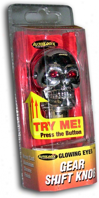 Glowing Eyes Chrome Skull Shift Knob