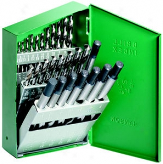 Hanson Hss Drill Bit Set With Reduced Shank - 29 Pc.