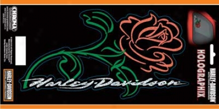 Harley-davidson - Script With Rose - 6''x12'' Decal - Holographic