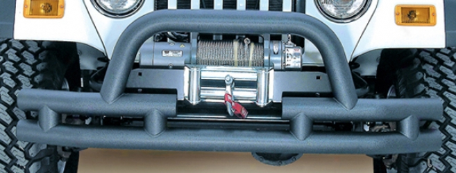 Jeep Wrangler, Unlimited & Cj Black Textured Front Thbe Bumper With Winch Cut Out