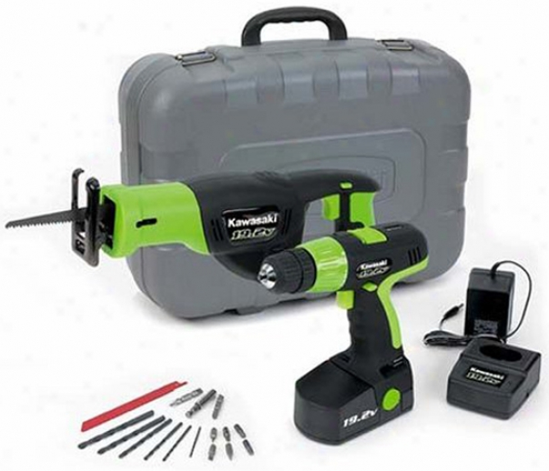Kawasaki 19.2 Volt Cordless Drill And Reciprocating Saw Set
