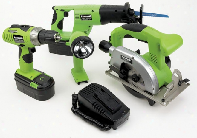 Kawasaki 19.2v Loaded Duty 4 Piece Cordless Tool Kit