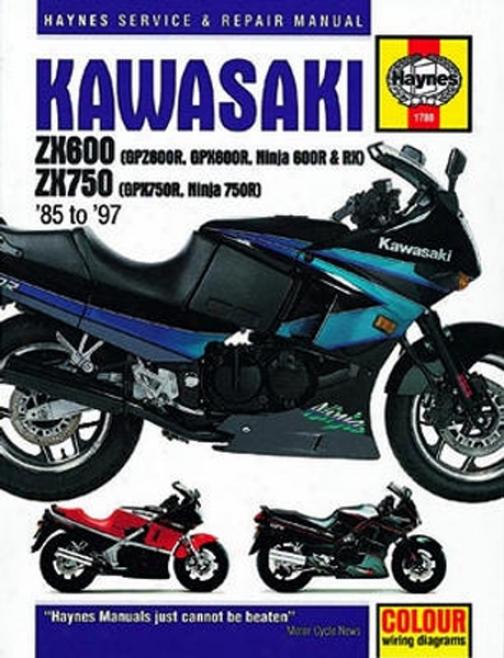 Kawasaki Zx600 Zx 750 Haynes Repair Manuwl (1985 - 1997)