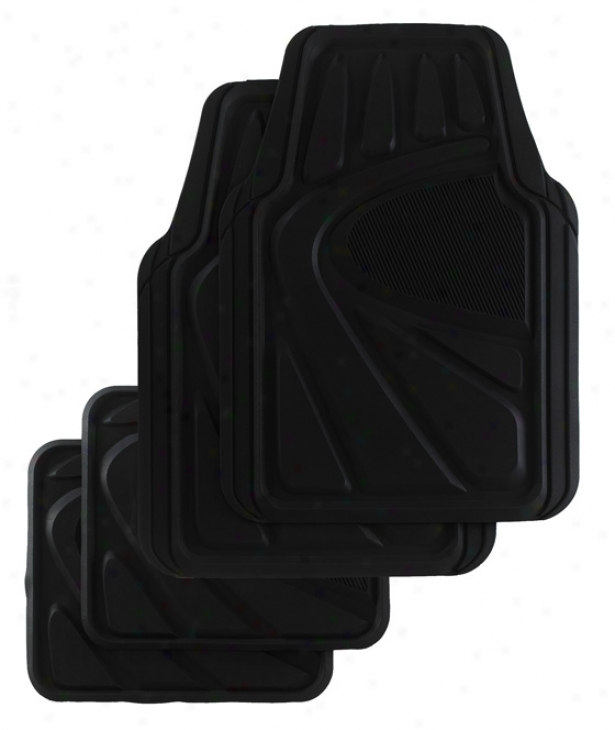 Kraco 4 Pc. Premiim Rubber Mat Set For Trucks And Suvs